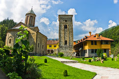 Church yard inside 13th century Rača monastery walls Royalty Free Stock Photos
