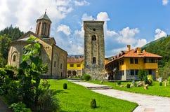 Church yard inside 13th century Rača monastery walls Royalty Free Stock Photos