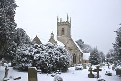 Church yard with snow stock photo