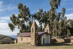 The church at the Yumani community on the Isla Del Sol on Lake Titicaca stock images