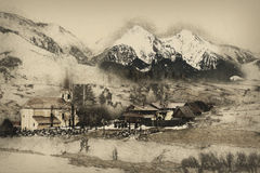 Church in Zdiar village with Belianske Tatry, illustration Royalty Free Stock Photography