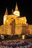 Church in Zilina. Holy Trinity Cathedral in Zilina, Slovakia. Night photo stock photography