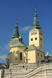 Church in Zilina. Holy Trinity Cathedral in Zilina, Slovakia. vertical photo royalty free stock photography