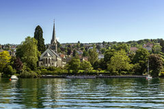 Church on Zurich lake, Switzerland Stock Images