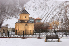 The churchand Shioda Gudashauri Spiritual and Cultural Centre in Sno village in winter Stock Photo