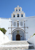 Churches. Architecture of the Greek islands in the mediterranean sea royalty free stock photo