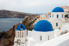 Churches with blue domes, Oia, Santorini Stock Photography