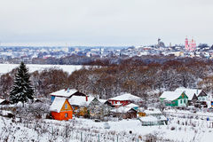 Churches in Borovsk. Two churches in Borovsk at winter Stock Photography