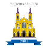 Churches of Chiloe in Chile vector flat attraction landmarks Stock Photos