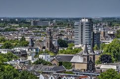 The Churches of Cool. Rotterdam, The Netherlands, June 17, 2017: View of the neighbourhood of Cool, with mainly pre-war buildings, several churches and the Park royalty free stock photo