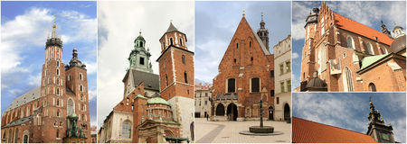 Churches in Cracow, Poland. Pictures with churches from Cracow, Poland. Useful for travel agencies, ads, advertising, calendars, post cards Royalty Free Stock Photo