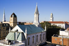 Churches in downtown Savannah Royalty Free Stock Photography