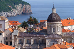Churches in Dubrovnik, Croatia. Churches and houses in Dubrovnik on the Adriatic Sea. Horizontal shot Royalty Free Stock Photo