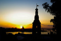 Churches at evening and skyline horizontal. Orthodox Christ's Birth Church and Alexander Nevsky Cathedral in Nizhny Novgorod -  at evening and skyline on the Royalty Free Stock Image