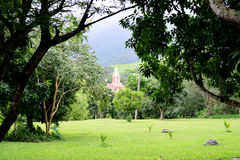 Churches on the farm. Small church in the middle of the natural landscape of Finance of New Gokula, place of meditation and contemplation Stock Photos