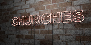 CHURCHES - Glowing Neon Sign on stonework wall - 3D rendered royalty free stock illustration Royalty Free Stock Image