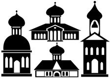 Churches icon set isolated on white Stock Photography