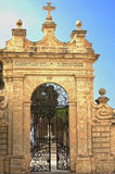 Churches of Malta - Mellieha. Gate to the Sanctuary of Our Lady of Mellieha - Mellieha, Malta Stock Photo