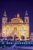 Malta at night - Msida. Night view of the parish church of St Joseph (San Guzepp) - Msida, Malta Stock Images