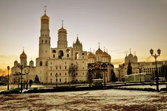 Churches of Moscow Kremlin. Color photo royalty free stock photography