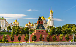 Churches in Moscow Kremlin over the river Royalty Free Stock Photography