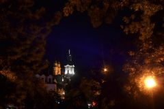 Churches at night stock photo
