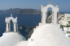 Churches in Oia. Stock Photo