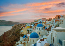Churches of Oia village during beautiful sunset, Santorini Stock Image