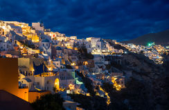 Churches of Oia village at dusk at Santorini Royalty Free Stock Image
