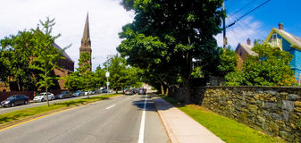Churches and Old Houses on Memorial Boulevard, Newport, RI. Stock Photo
