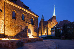 Churches in Ostrow Tumski by Night in Wroclaw Stock Images