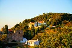 Churches on Palouki hill, Skopelos, Greece royalty free stock image
