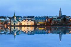 Churches reflection Iceland Royalty Free Stock Image
