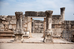 Churches and ruins in Capernaum Stock Photo