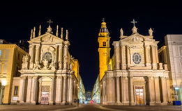 Churches of San Carlo and Santa Cristina in Turin Stock Images