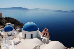 Churches of Santorini. Beautiful view in Oia (Santorini island, Greece stock photos
