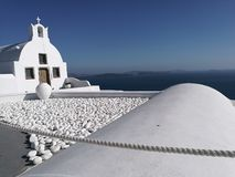 Churches of Santorini stock image