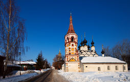 Churches at Suzdal in winter. Russia Royalty Free Stock Photo