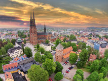 The 2 churches of Uppsala. A beautiful aerial photo of the 2 churches in Uppsala (including the world-famous Domkyrka Royalty Free Stock Photos