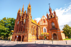 Churches in Vilnius. View on the beautiful gothic saint Anna and Francis of Assisi churches in the old town of Vilnius city, Lithuania royalty free stock photography