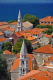 Churches in Zadar. Vertical photo of ancient town of Zadar with two church towers, Croatia Stock Images