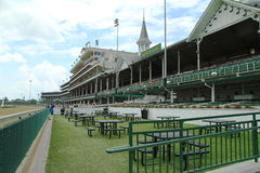 Churchill Downs Racetrack. LOUISVILLE, KENTUCKY, USA - JUNE 15, 2015:  Looking into the grandstands at Churchill Downs, home of 2015 Triple Crown Winner American Stock Photography