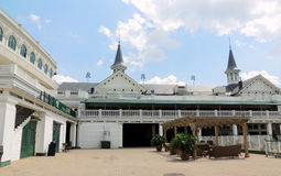 Churchill Downs: Twin spires and courtyard. Famous twin spires and courtyard at Churchill Downs, location of the Kentucky Derby royalty free stock images