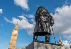 Churchill statue and Big Ben in London Stock Image