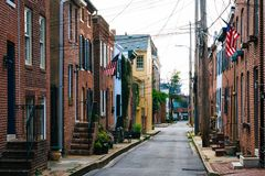 Churchill Street in Federal Hill, Baltimore, Maryland.  stock photos