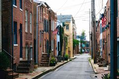 Churchill Street in Federal Hill, Baltimore, Maryland.  royalty free stock images
