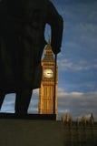 Through Churchills Eyes. A view of Big Ben, Londons famous clock tower taken through the statue of Winston Churchill stock photo