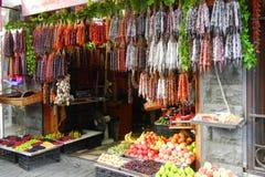 Churchkhela candy and fruit shop stock photos
