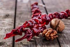 Churchkhela walnut red Royalty Free Stock Image