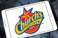 Churchs chicken logo. Logo of food franchise and restaurant churchs chicken on samsung tablet Stock Image